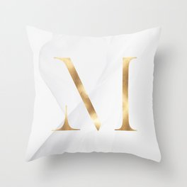 GOLD LETTER COLLECTION | M Throw Pillow