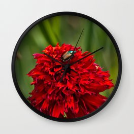 Red Flower And Beetle Wall Clock