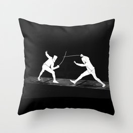 Fencing silhouette Throw Pillow