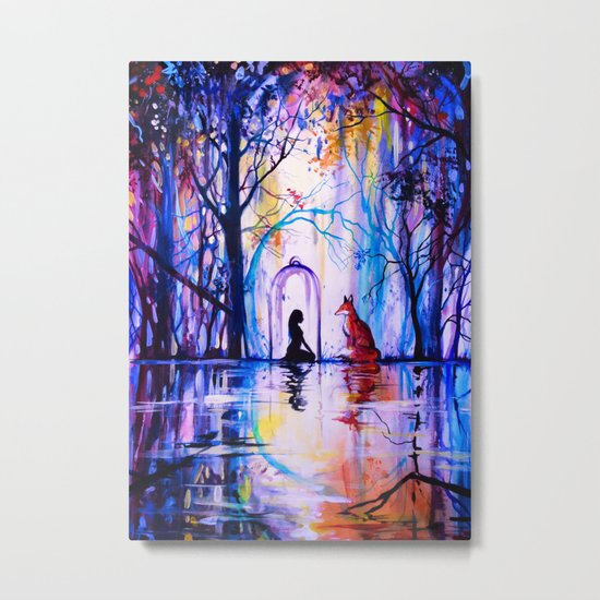 Soul reflection (The girl, the fox and the love) Metal Print