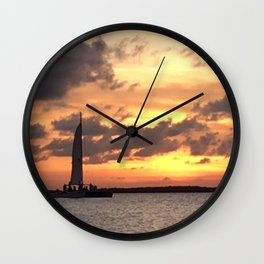 Key West sailing into Sunset Wall Clock