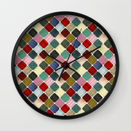 Colored Wood Pattern Wall Clock