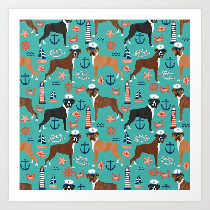 c9aa66bdfc03 Boxer nautical sailor costume custom pet portrait dog breeds by pet  friendly boxers dogs Art Print by petfriendly | Society6