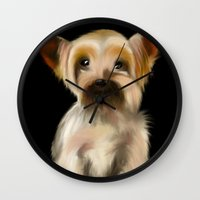 yorkie Wall Clocks featuring Yorkie on Black by barefoot art online