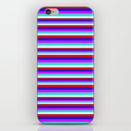 Colored Stripes - Fire Red Royal Blue Pink Mint White iPhone Skin