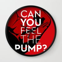 crossfit Wall Clocks featuring CAN YOU FEEL THE PUMP? FITNESS SLOGAN CROSSFIT MUSCLE by HAPPY