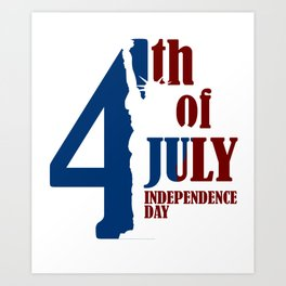 4th July Independence  United States America Gift Art Print