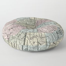 Vintage Map of Paris France (1869) Floor Pillow