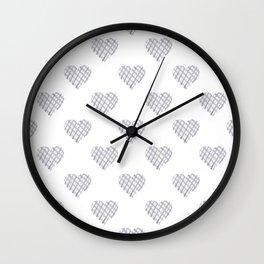 Grey Check Hearts Wall Clock
