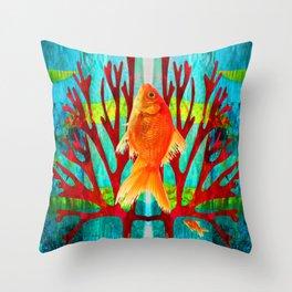 Golden Fish Throw Pillow