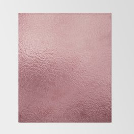Pure Rose Gold Pink Throw Blanket