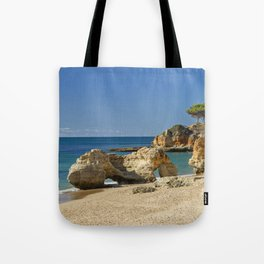 rock formation on Olhos d'Agua beach, Portugal Tote Bag