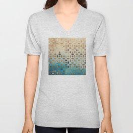 Exotic Gold Moroccan Geometric Pattern on Blue Background Unisex V-Neck