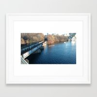 rowing Framed Art Prints featuring Rowing under the Bridge by Kammy Nature Prints