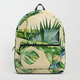 Green Tropics Leaves on Linen Backpack