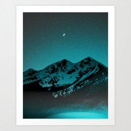 Mountains at night series II // Boulder Colorado Art Print
