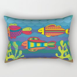 Stylize fantasy fishes under water. Rectangular Pillow