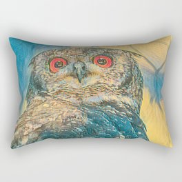 abstract real owl with red eyes Rectangular Pillow