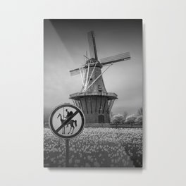 No Tilting at the Windmills in Black & White with Don Quixote Sign and Windmill Metal Print