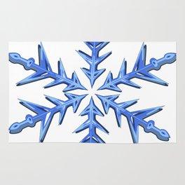 Minimalistic Ice Blue Snowflake Rug
