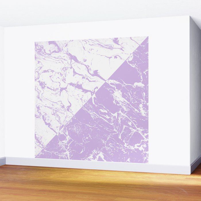 modern color block inverted white purple lavender marble pattern Wall Mural