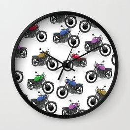 Multicolored Motorbikes pattern Wall Clock