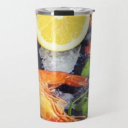 Tiger Shrimps on Ice with lemon and herbs Travel Mug