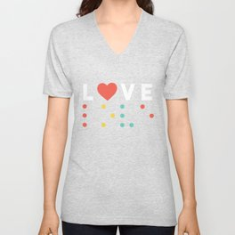 Best Love Braille Design Unisex V-Neck