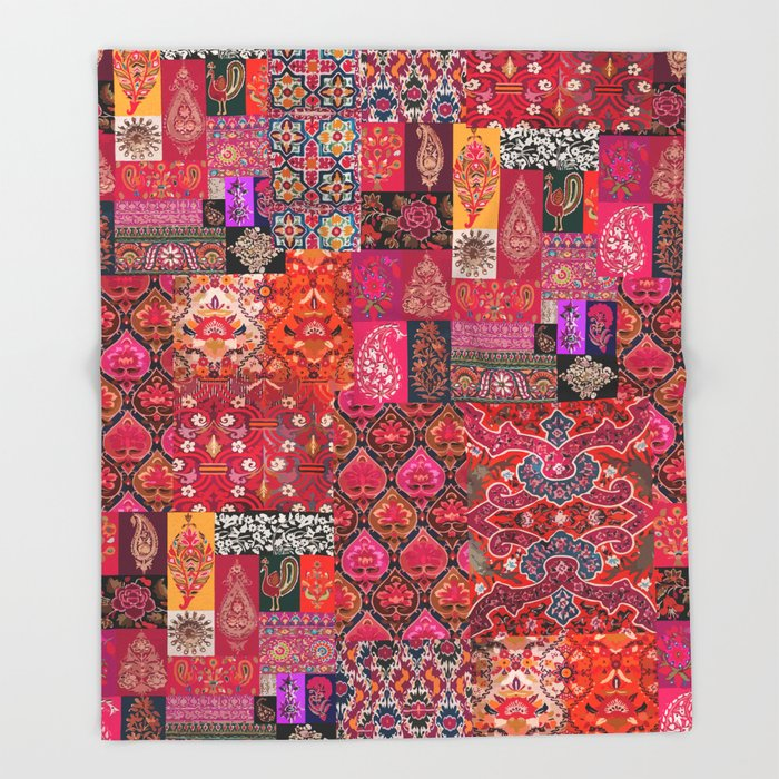 N98 - Traditional Heritage Boho Oriental Moroccan Collage Style. Throw Blanket