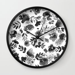 Floret Black and White Wall Clock