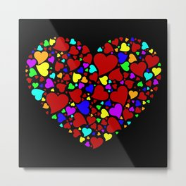 HEART WITH MULTICOLOR HEARTS Metal Print