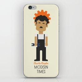 "Charlie Chaplin ""Modern Times"" movie poster, fine Art print, classic film with Paulette Goddard iPhone Skin"