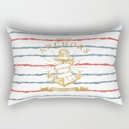 Maritime Design- Nautic Vintage Anchor on stripes in blue and red #Society6 Rectangular Pillow