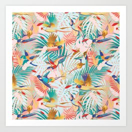 Colorful, Vibrant Paradise Birds and Leaves Art Print