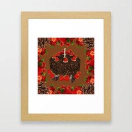 CHOCOLATE & STRAWBERRIES  BIRTHDAY CAKE Framed Art Print