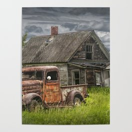 Old Vintage Pickup in front of an Abandoned Farm House Poster