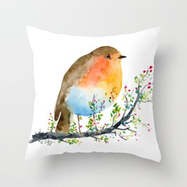 Watercolor Robin on Berry Branch Throw Pillow