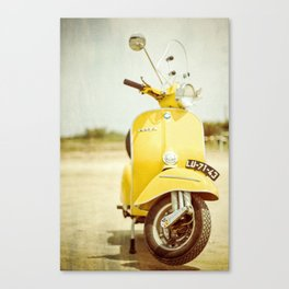 Yellow Scooter #vespaprint #italyphoto #travel #modstyle #yellowmustard Canvas Print