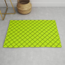 Slime Green and Black Halloween Tartan Check Plaid Rug
