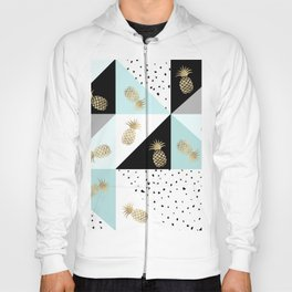 Pastel color block watercolor dots faux gold pineapple Hoody