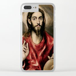 "El Greco (Domenikos Theotokopoulos) ""Christ blessing"" Clear iPhone Case"