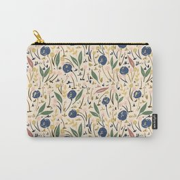 Pale Ditsy Rose Meadow Floral Pattern Carry-All Pouch