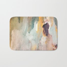 Gentle Beauty - an elegant acrylic piece in deep purple, red, gold, and white Bath Mat