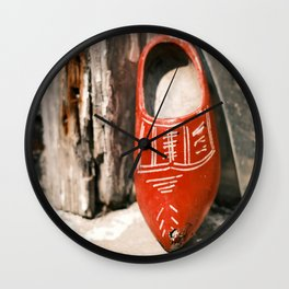 Authentic Dutch Red Wooden Clog | Elburg The Netherlands | Street Photography | Fine Art Photo Print Wall Clock