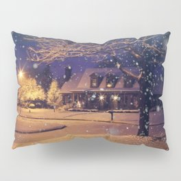 Snowy Mansion Art Print Pillow Sham