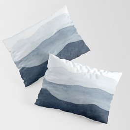 Indigo Abstract Watercolor Mountains Kissenbezug