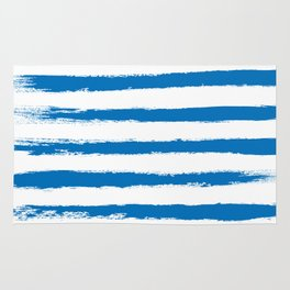 Nautical Blue STRIPES Handpainted Brushstrokes Rug