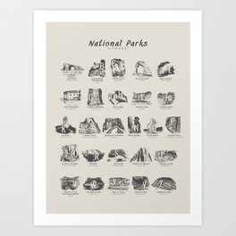 National Parks Alphabet Art Print