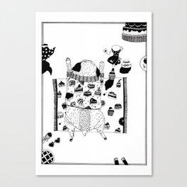 Pug teaparty Canvas Print