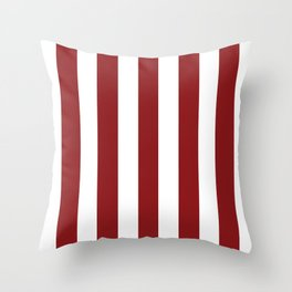 Strawberry Jam red - solid color - white vertical lines pattern Throw Pillow